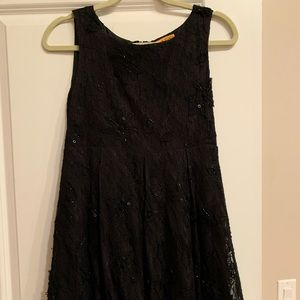 Alice + Olivia black lace and beaded party dress